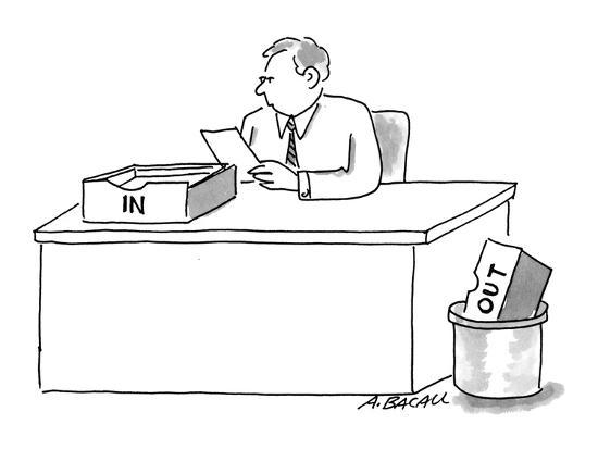 Man sitting at desk with 'In' box on desk and 'Out' box in trash. - Cartoon-Aaron Bacall-Premium Giclee Print