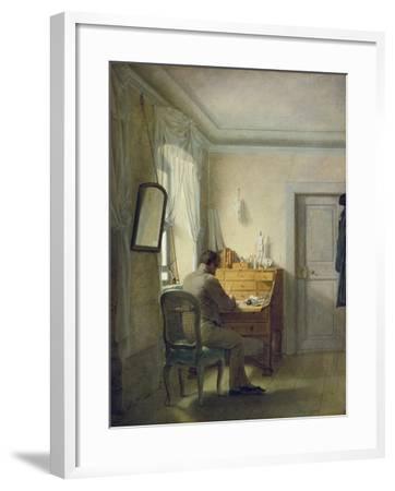Man Sitting at His Desk-Georg Friedrich Kersting-Framed Giclee Print