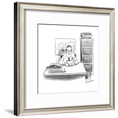 Man sitting at Personnel desk next to a file cabinet with separate draws t? - New Yorker Cartoon-Mike Twohy-Framed Premium Giclee Print