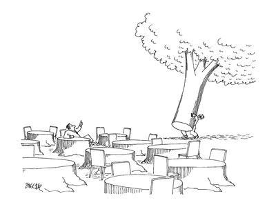 Man, sitting at tree stump table, motions to a waiter to bring over the re? - New Yorker Cartoon-Jack Ziegler-Premium Giclee Print