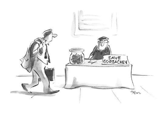 "Man sitting on street corner with sign ""Save Gorbachev"". - New Yorker Cartoon-Lee Lorenz-Premium Giclee Print"