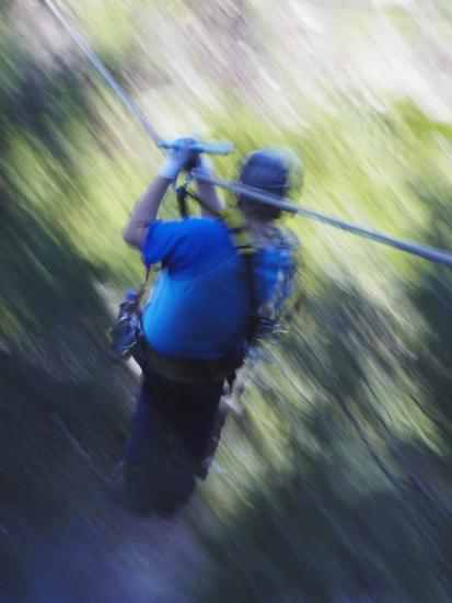 Man Sliding Down a Zip-Line, Storms River, Eastern Cape, South Africa, Africa--Photographic Print
