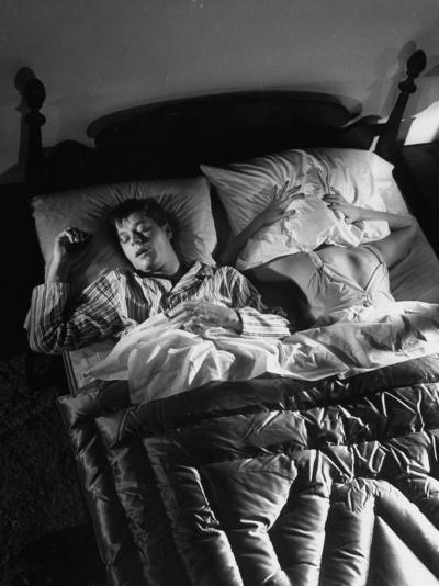 Man Snoring to the Point That His Wife Cannot Even Sleep in the Same Bed Any More--Photographic Print