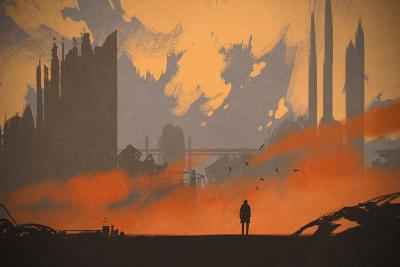 Man Standing at Abandoned City,Illustration Painting-Tithi Luadthong-Art Print
