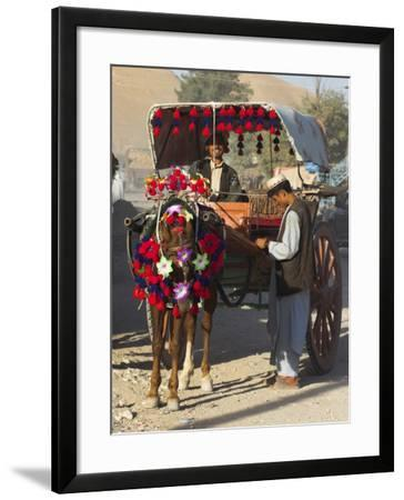 Man Standing by Colourful Horse Cart, Maimana, Faryab Province, Afghanistan-Jane Sweeney-Framed Photographic Print