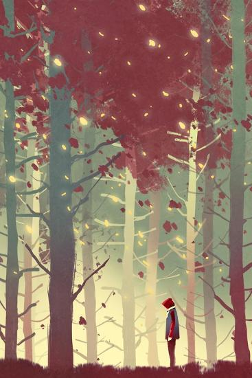 Man Standing in Beautiful Forest with falling Leaves,Illustration Painting-Tithi Luadthong-Art Print