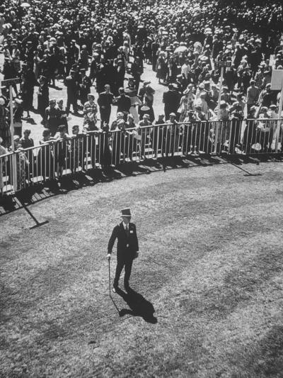 Man Standing in the Center of the Royal Enclosure at Ascot Race Track-Mark Kauffman-Photographic Print