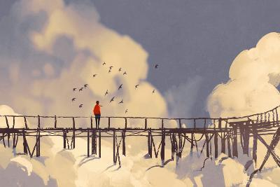Man Standing on Old Bridge in Clouds,Illustration Painting-Tithi Luadthong-Art Print