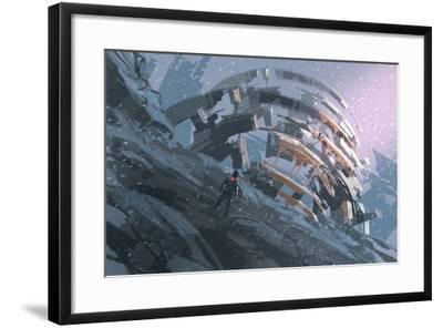 Man Standing on the Hill Watching the Abstract Architecture,Illustration Painting-Tithi Luadthong-Framed Art Print