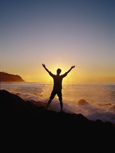 Man, Sunset, and Waves, Palos Verdes Peninsula, CA-Francie Manning-Photographic Print