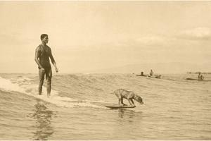 Man Surfing with Dog