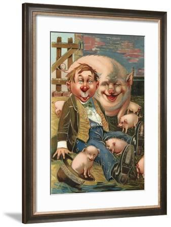 Man Surrounded by Pigs--Framed Giclee Print