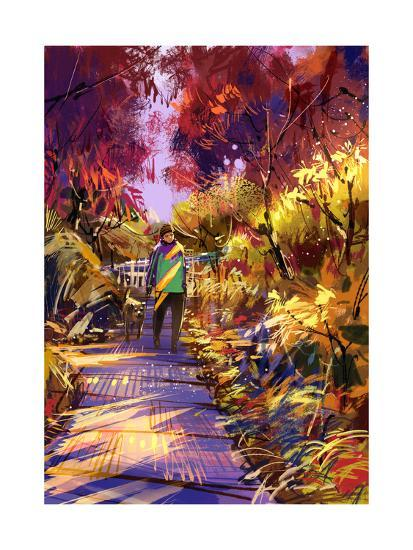 Man Taking Dog on Walk in Autumn,Digital Painting,Illustration-Tithi Luadthong-Art Print