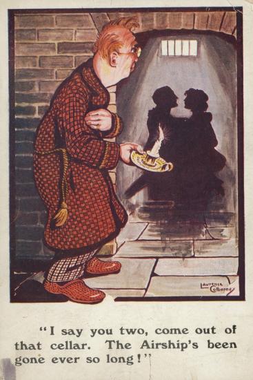 Man Talking to Romantic Couple in Cellar--Giclee Print