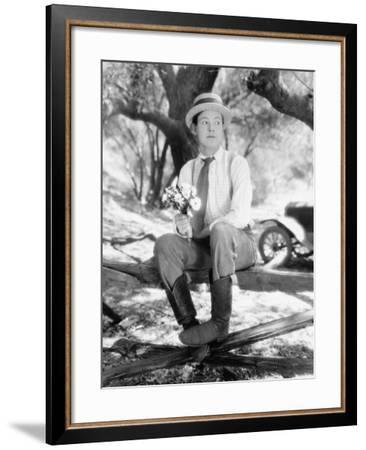 Man Waiting with Bouquet of Flowers--Framed Photo