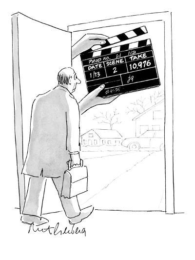 Man walking out his front door encounters a large movie clapboard that say? - New Yorker Cartoon-Mort Gerberg-Premium Giclee Print