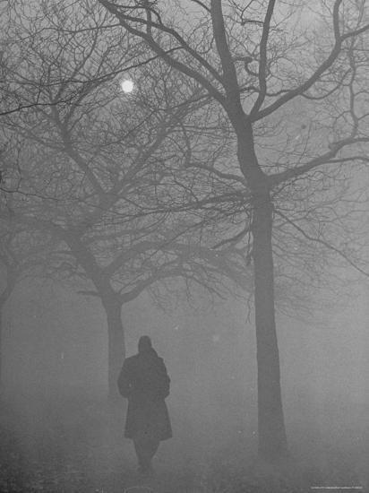 Man Walking Through Hyde Park in the Fog-Mark Kauffman-Photographic Print