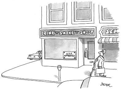 "Man walks by a storefront with a sign reading ""DRINK 'N' SMOKE 'N' SHOOT"" ? - New Yorker Cartoon-Jack Ziegler-Premium Giclee Print"