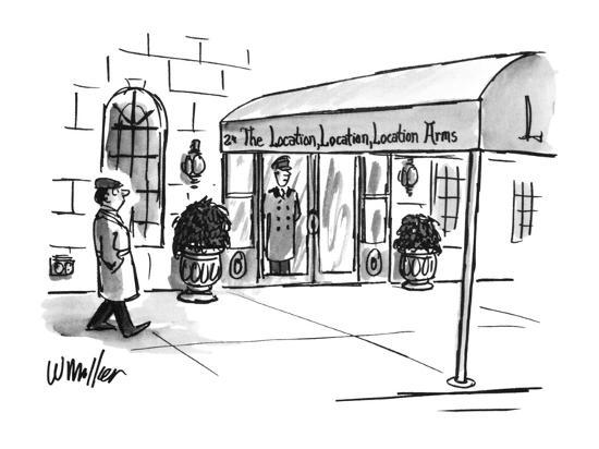 Man walks by a swanky-looking building. The awning reads: The Location, Lo? - New Yorker Cartoon-Warren Miller-Premium Giclee Print