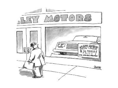 Man walks by car dealership, a sign in the window reads, 'NOW ONLY $14,999? - New Yorker Cartoon-Jack Ziegler-Premium Giclee Print