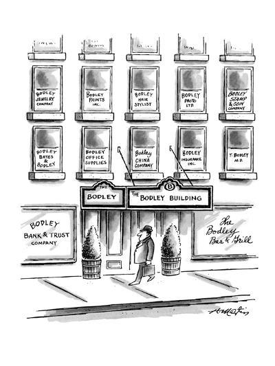 Man walks by 'The Bodley Building.' Signs in the building's windows indica? - New Yorker Cartoon-Henry Martin-Premium Giclee Print