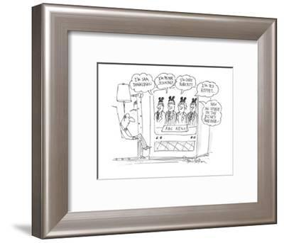 """man watches ABC News as the four newscasters say: """"I'm Sam Donaldson"""", """"I'? - Cartoon-Harley L. Schwadron-Framed Premium Giclee Print"""