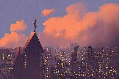 Man Watching over the City,Illustration Painting-Tithi Luadthong-Art Print