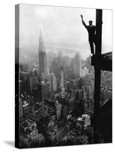 Man Waving from Empire State Building Construction Site
