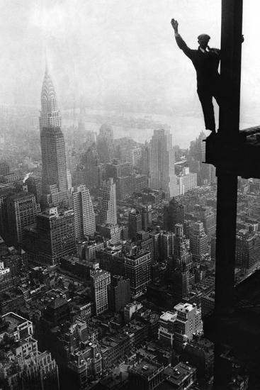 Man Waving from Empire State Building Construction Site--Giant Art Print