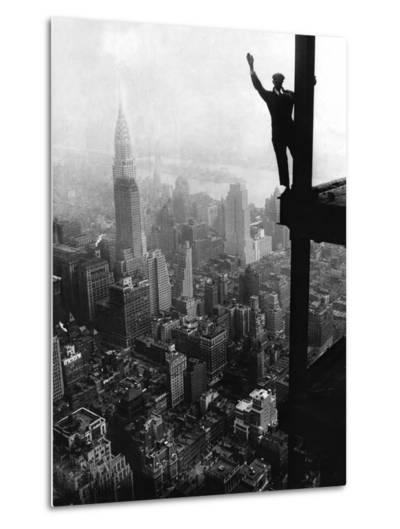 Man Waving from Empire State Building Construction Site--Metal Print