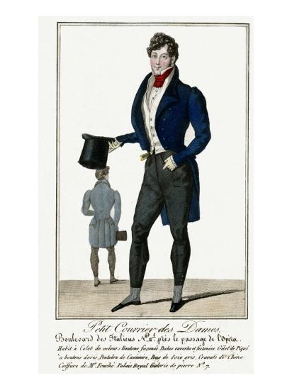Man Wearing a Blue Jacket and Black Cashmere Trousers Carrying a Top Hat--Giclee Print