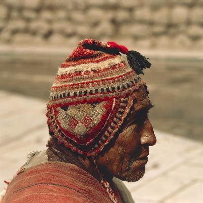 Man Wearing a Chullo, 20th Century--Photographic Print