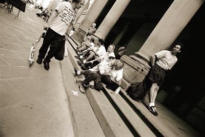 Man Wearing a 'Jesus' T-Shirt Staring at Lovers, 2004-Stephen Spiller-Photographic Print