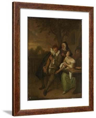 Man with a Fiddle in Bad Company-Jan Havicksz Steen-Framed Art Print