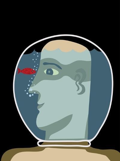 Man with a Head inside an Aquarium with Red Fish-Complot-Art Print