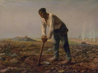 Man with a Hoe, C.1860-62-Jean-Francois Millet-Giclee Print
