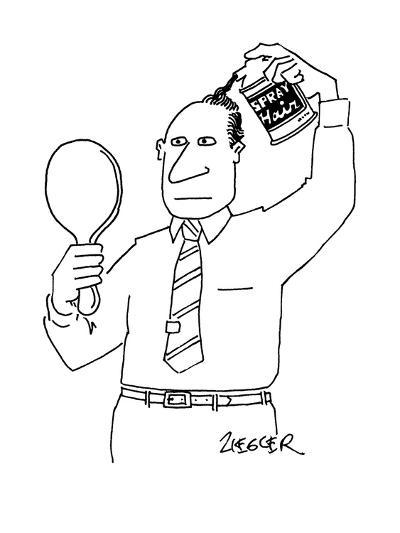 """Man with can of """"Spray Hair"""" covering up his bald spot. - New Yorker Cartoon-Jack Ziegler-Premium Giclee Print"""