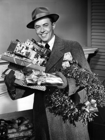 Man With Christmas Gifts-George Marks-Photographic Print