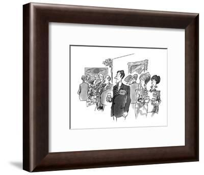 Man with name card saying 'Eva's'. - New Yorker Cartoon-Kenneth Mahood-Framed Premium Giclee Print
