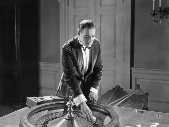 Man with Roulette Table--Photo