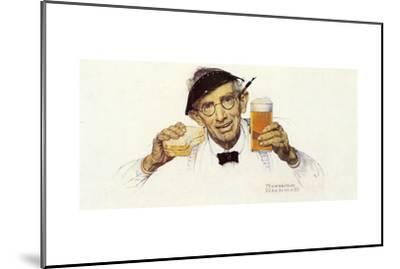 Man with Sandwich and Glass of Beer-Norman Rockwell-Mounted Giclee Print