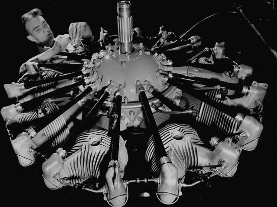 Man Working on Construction of an Aircraft Engine-Carl Mydans-Photographic Print