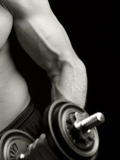 Man Working Out with Hand Wieghts, New York, New York, USA-Chris Trotman-Photographic Print
