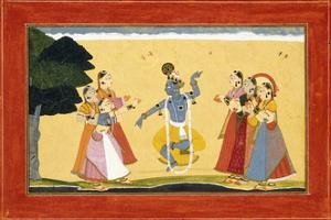 Krishna Dancing before the Cowgirls as They Clap their Hands, C.1730-1735 (W/C on Red Paper) by Manaku