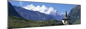 Manaslu Trek, Chorten, View of a Temple at the Base of a Mountain, Nepal
