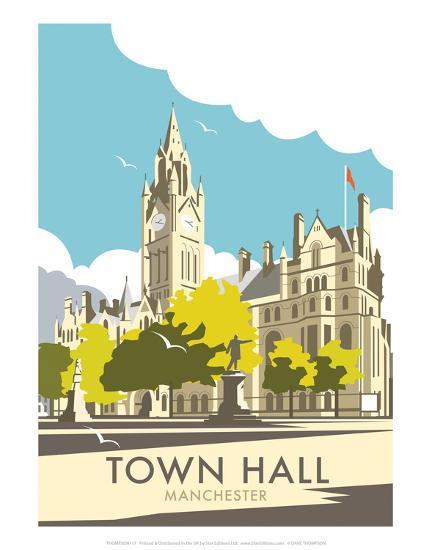 Manchester Town Hall - Dave Thompson Contemporary Travel Print-Dave Thompson-Art Print