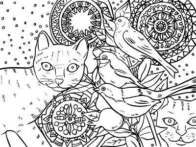 Mandala Cats: LINE ART-Oxana Zaika-Giclee Print