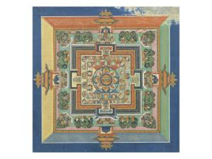 Mandala du livre ; Bahaishajyaguru et les sept autres Buddha de médecine