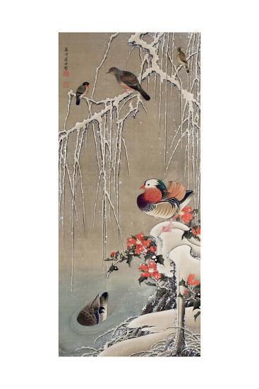 Mandarin Duck in the Snow 1-Jakuchu Ito-Giclee Print