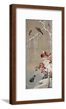 Mandarin Duck in the Snow 1-Jakuchu Ito-Framed Giclee Print